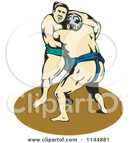 Clipart of a Sumo Wrestling Match 3 - Royalty Free Vector Illustration by patrimonio