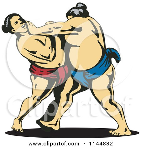 Clipart of a Sumo Wrestling Match 2 - Royalty Free Vector Illustration by patrimonio