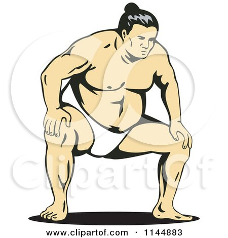 Clipart of a Sumo Wrestler Crouching - Royalty Free Vector Illustration by patrimonio