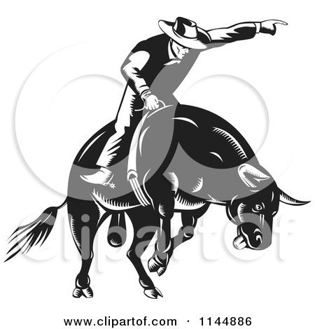 Clipart of a Retro Black and White Rodeo Cowboy on a Bucking Bull - Royalty Free Vector Illustration by patrimonio