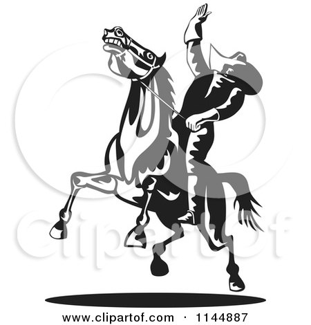 Clipart of a Retro Black and White Rodeo Cowboy on a Bucking Horse 1 - Royalty Free Vector Illustration by patrimonio