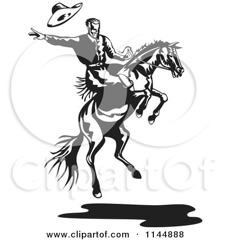 Clipart of a Retro Black and White Rodeo Cowboy on a Bucking Horse 2 - Royalty Free Vector Illustration by patrimonio