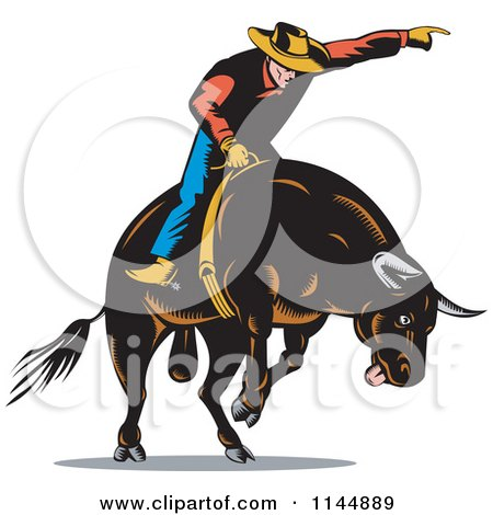Clipart of a Retro Rodeo Cowboy on a Bucking Bull 3 - Royalty Free Vector Illustration by patrimonio