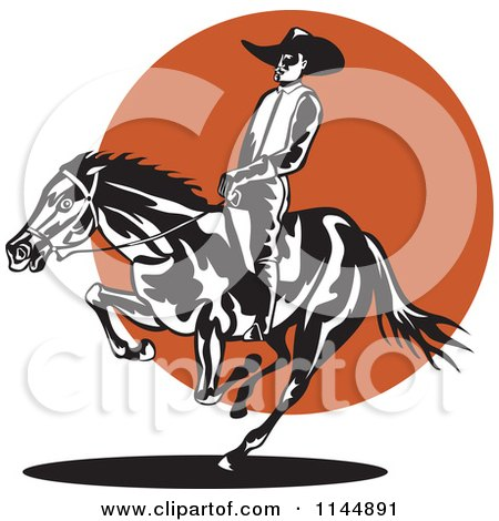 Clipart of a Retro Rodeo Cowboy on a Bucking Horse 2 - Royalty Free Vector Illustration by patrimonio