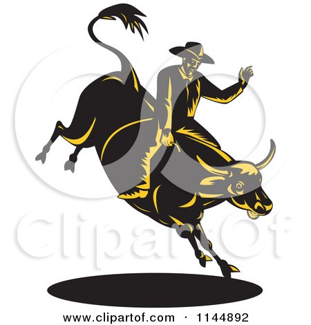 Clipart of a Retro Rodeo Cowboy on a Bucking Bull 4 - Royalty Free Vector Illustration by patrimonio