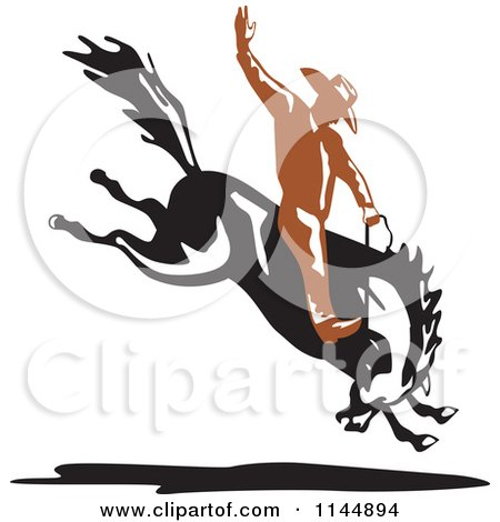Clipart of a Retro Rodeo Cowboy on a Bucking Horse 1 - Royalty Free Vector Illustration by patrimonio