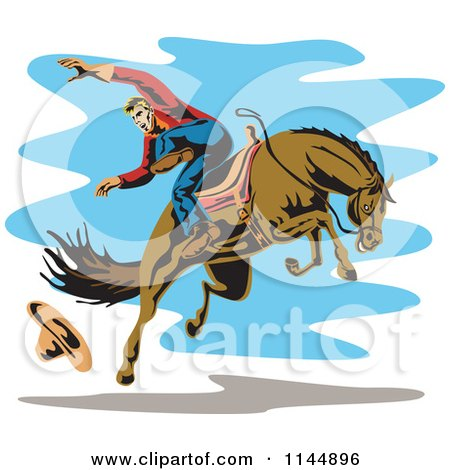 Clipart of a Retro Rodeo Cowboy on a Bucking Horse 4 - Royalty Free Vector Illustration by patrimonio