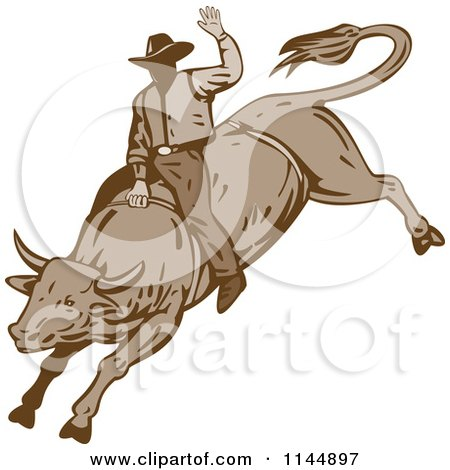 Clipart of a Retro Rodeo Cowboy on a Bucking Bull 2 - Royalty Free Vector Illustration by patrimonio