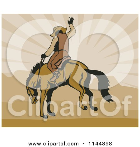 Clipart of a Retro Rodeo Cowboy on a Bucking Horse 3 - Royalty Free Vector Illustration by patrimonio