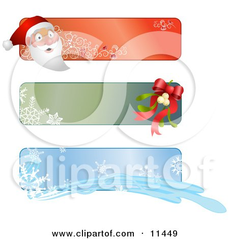 Santa, Mistletoe and Snowflake Banners or Labels for Christmas Clipart Illustration by AtStockIllustration