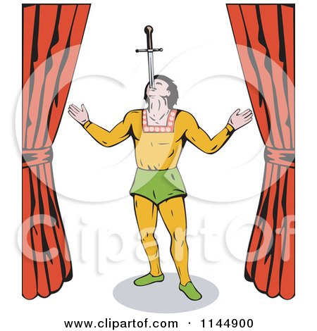 Clipart Of A Retro Circus Act Sword Swallower Royalty Free Vector Illustration