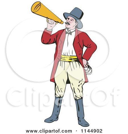 Clipart Of A Circus Ringmaster Announcing With A Bullhorn Royalty Free Vector Illustration
