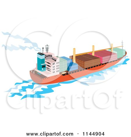Clipart of a Cargo Carrier Ship with Containers 2 - Royalty Free Vector Illustration by patrimonio