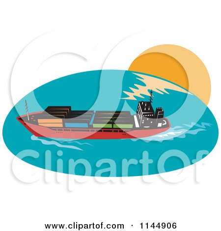 Clipart of a Cargo Carrier Ship with Containers 1 - Royalty Free Vector Illustration by patrimonio