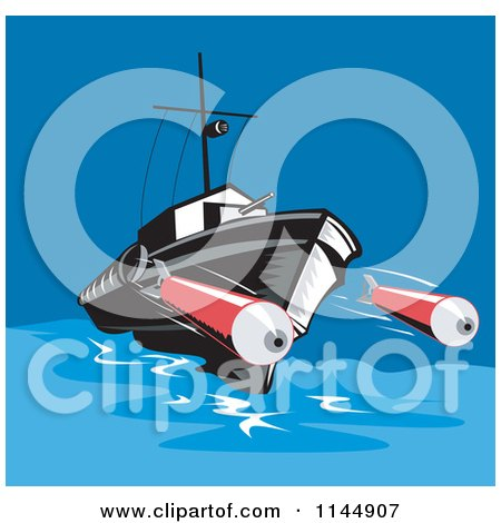 Clipart of a Battleship Launching Torpedoes - Royalty Free Vector Illustration by patrimonio