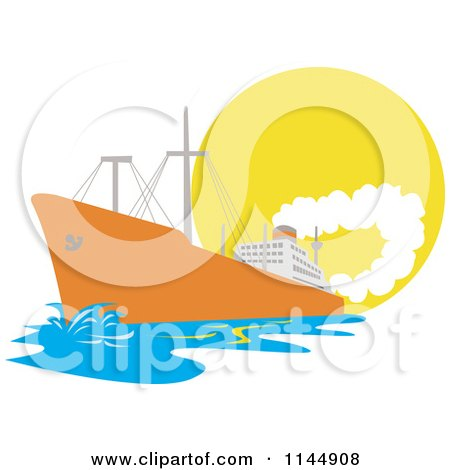 Clipart of an Orange Cargo Ship Against the Sun - Royalty Free Vector Illustration by patrimonio