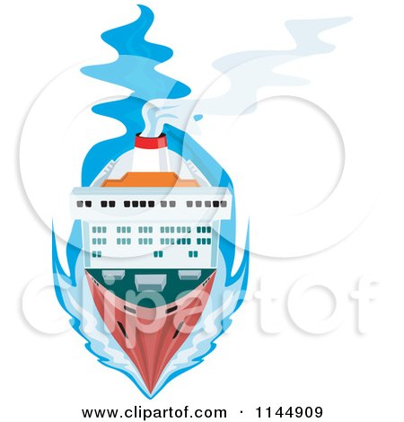 Clipart of an Aerial View of a Cargo Ship - Royalty Free Vector Illustration by patrimonio