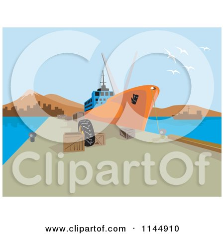 Clipart of a Cargo Ship at Dock - Royalty Free Vector Illustration by patrimonio