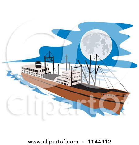 Clipart of a Retro Cargo Carrier Ship at Night - Royalty Free Vector Illustration by patrimonio