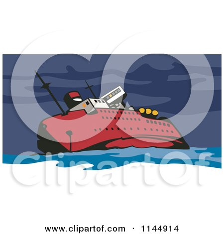 Clipart of a Red Ship Wrecking - Royalty Free Vector Illustration by patrimonio