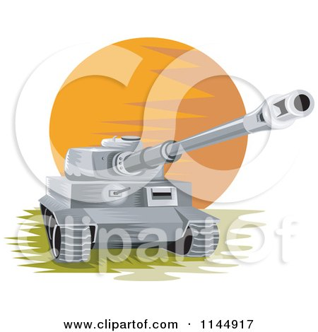 Clipart of a Military Tank 1 - Royalty Free Vector Illustration by patrimonio