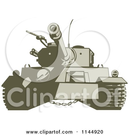 Clipart of a Military Tank 4 - Royalty Free Vector Illustration by patrimonio