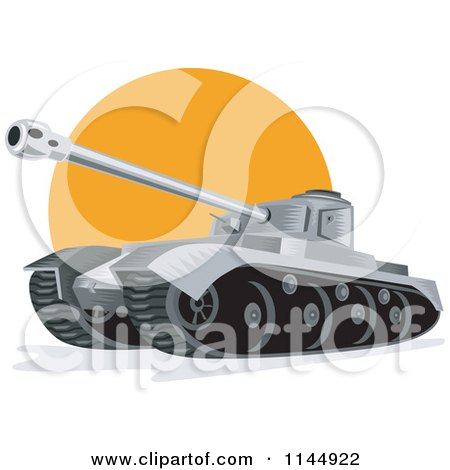 Clipart of a Military Tank 6 - Royalty Free Vector Illustration by patrimonio