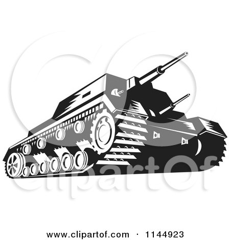 Clipart of a Military Tank in Black and White - Royalty Free Vector Illustration by patrimonio