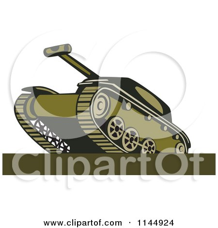 Clipart of a Military Tank 7 - Royalty Free Vector Illustration by patrimonio