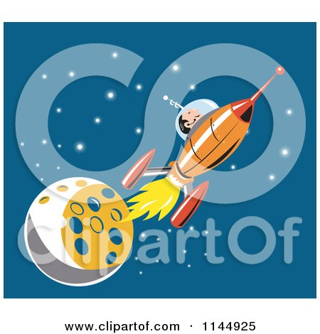 Clipart of an Astronaut and Rocket by the Moon - Royalty Free Vector Illustration by patrimonio