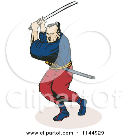 Clipart of a Ninja Fighting with a Katana Sword - Royalty Free Vector Illustration by patrimonio