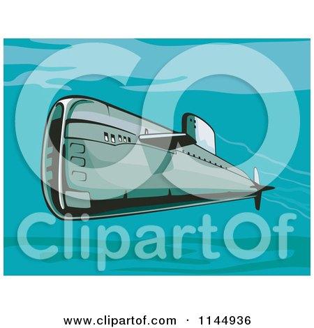 Clipart of a Retro Submarine Underwater - Royalty Free Vector Illustration by patrimonio