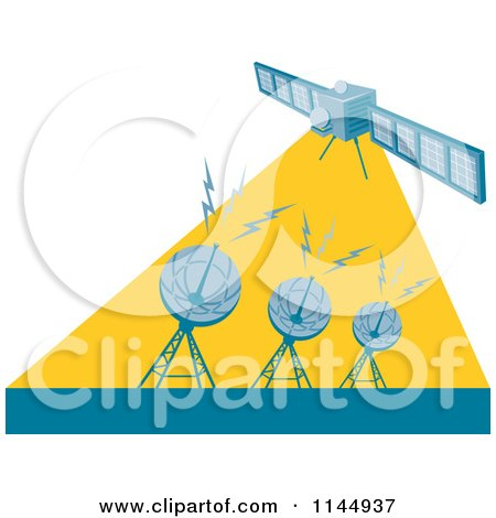 Clipart of a Retro Space Satellite Communicating with Dishes - Royalty Free Vector Illustration by patrimonio