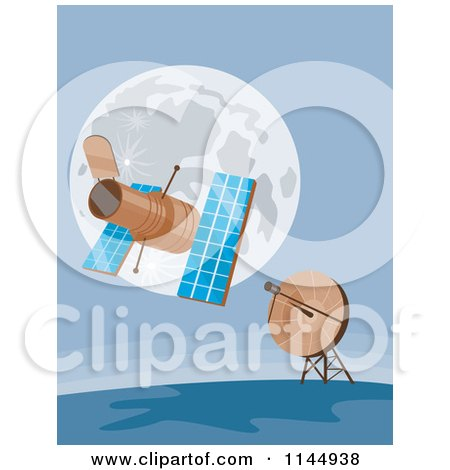 Clipart of a Space Satellite Communicating with a Dish - Royalty Free Vector Illustration by patrimonio