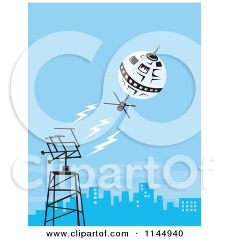 Clipart of a Retro Space Satellite Communicating with a City Dish - Royalty Free Vector Illustration by patrimonio