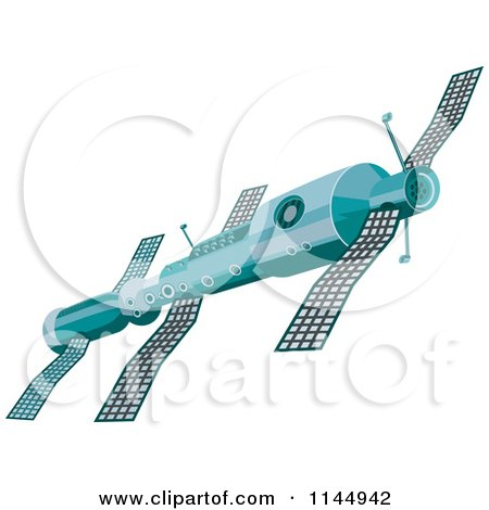 Clipart of a Soviet Space Satellite - Royalty Free Vector Illustration by patrimonio