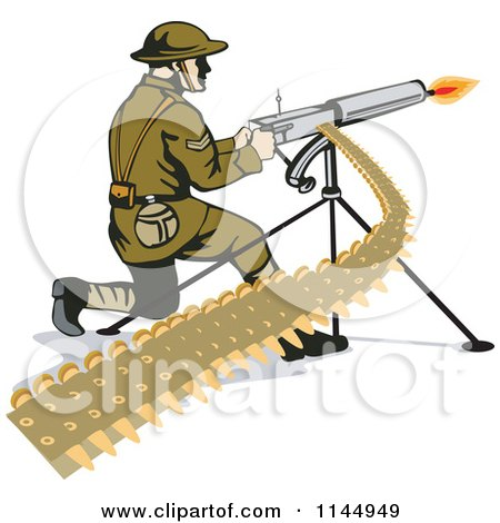 Clipart of an Army Soldier Shooting a Machine Gun - Royalty Free Vector Illustration by patrimonio
