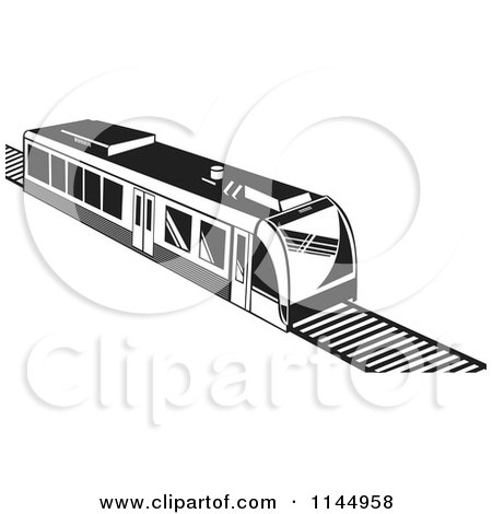 Clipart of a Retro Black and White Train 1 - Royalty Free Vector Illustration by patrimonio