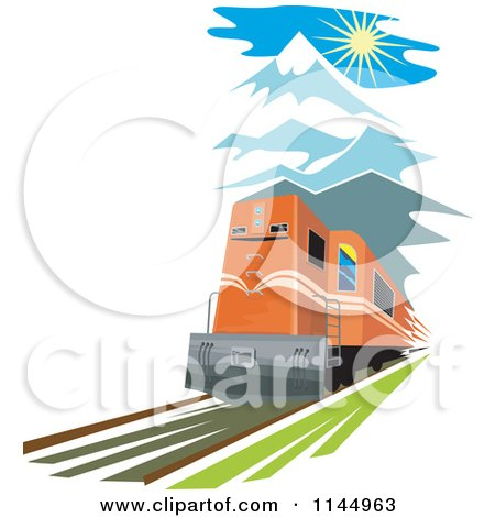 Clipart of a Retro Train in the Mountains - Royalty Free Vector Illustration by patrimonio