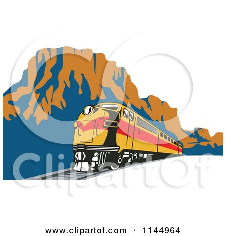 Clipart of a Retro Train in a Canyon - Royalty Free Vector Illustration by patrimonio