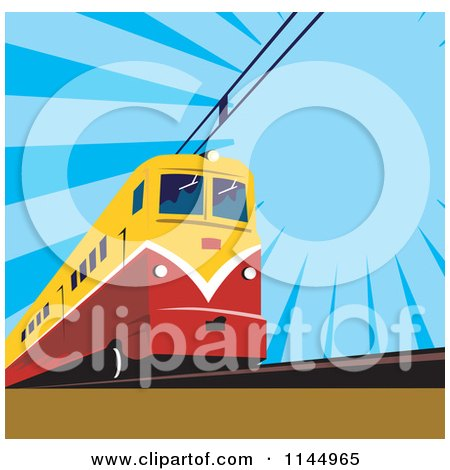 Clipart of a Retro Electric Train over Blue - Royalty Free Vector Illustration by patrimonio