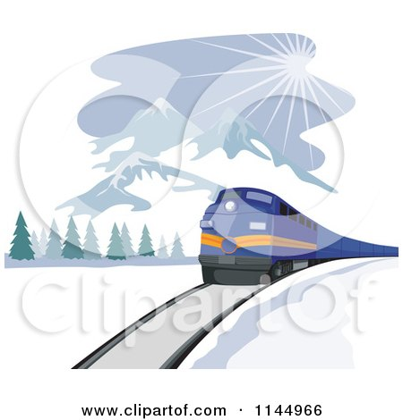 Clipart of a Retro Blue Train near Mountains - Royalty Free Vector Illustration by patrimonio