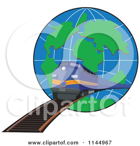 Clipart of a Retro Blue Train Emerging from a Globe - Royalty Free Vector Illustration by patrimonio