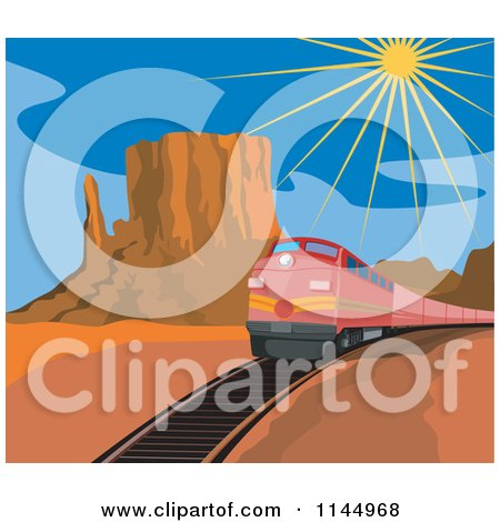 Clipart of a Retro Red Train in a Desert - Royalty Free Vector Illustration by patrimonio
