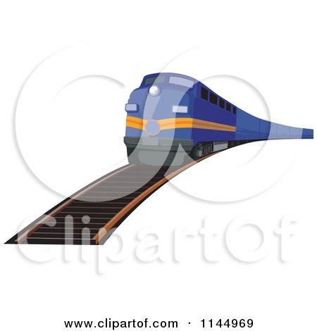 Clipart of a Retro Blue Train 2 - Royalty Free Vector Illustration by patrimonio