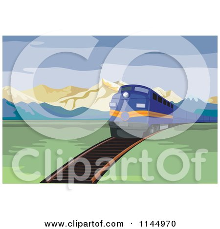 Clipart of a Retro Blue Train in a Valley - Royalty Free Vector Illustration by patrimonio