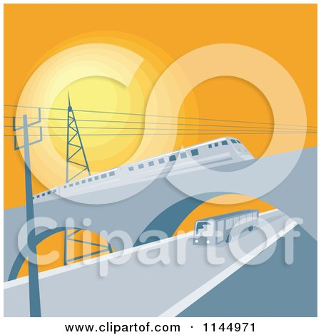Clipart of a Train on a Viaduct over a Bus - Royalty Free Vector Illustration by patrimonio