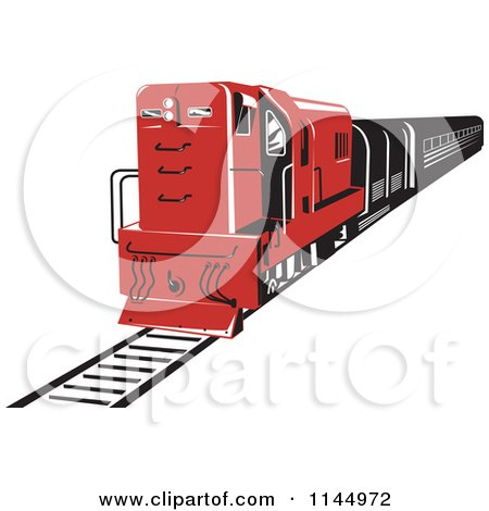 Clipart of a Retro Red Diesel Train - Royalty Free Vector Illustration by patrimonio