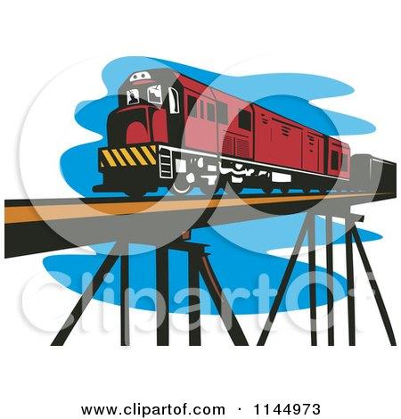 Clipart of a Retro Train on a Bridge - Royalty Free Vector Illustration by patrimonio