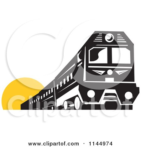 Clipart of a Retro Black and White Train over a Yellow Circle - Royalty Free Vector Illustration by patrimonio